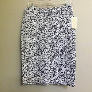 NWT $99 MICHAEL KORS navy leopard pencil skirt L